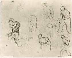 six sketches of figures among others a man sowing wheat by