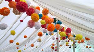 Pom Pom Decorations Wedding Buffet Ideas Using Pom Pom For Wedding Reception