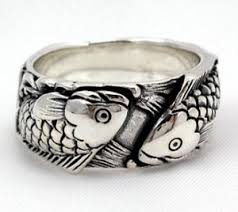 japanese wedding ring carp koi fish tattoos 925 sterling silver wedding band rings