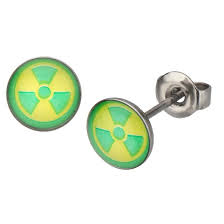 stainless steel stud earrings marvel green radioactive logo stainless steel stud earrings