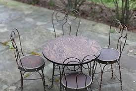 ice cream parlor table and chairs set vtg antique ice cream parlor set table 4 chairs original wood iron