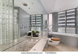 bright bathroom interior with clean spacious bathroom clean beautiful luxurious bright stock photo