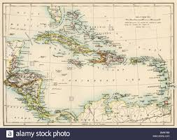The Caribbean Map by Map Of West Indies And The Caribbean Sea 1800s Stock Photo