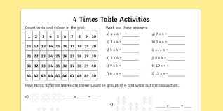 4 times table activity sheet times table times tables times