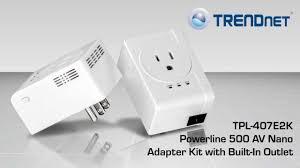 tpl 406e2k trendnet powerline 500 av nano adapter kit with built in outlet