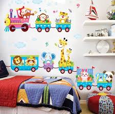 happy bedroom happy animals train wall stickers kids home nursery bedroom party