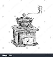 coffee grinder freehand pencil drawing isolated stock vector