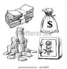 finance money set sketch paper money stock vector 494436976