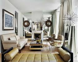 How To Arrange A Long Narrow Living Room by Long Narrow Living Room Blue White Sofa And Cushions Two Windows