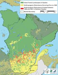 Map Of Quebec Anthropogenic Disturbance In Quebec U0027s Boreal Forest Boreal