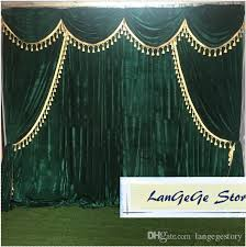 Gold Velvet Curtains 2018 Blackish Green Banquet Backdrops Swags And Tassel Trim