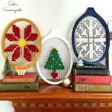 oversized cross stitch vintage tennis racket head