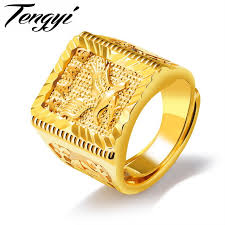 symbolic rings tengyi eagle design men ring 20mm big wide luxury gold color