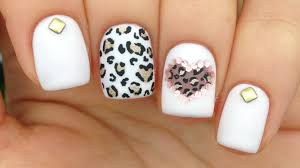 nail art tutorial pink mix u0026 match cutout heart u0026 leopard print
