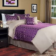 Purple And Cream Striped Curtains Auburn Wooden Floor Black Wooden Bed White Bedding Purple Striped