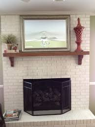 gray painted brick fireplace home design ideas