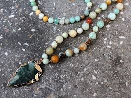 handmade long necklace images Amazonite stones rosary chain arrowhead pendant mala necklace jpg