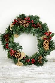 artificial pine wreath pine cones berries burlap bows