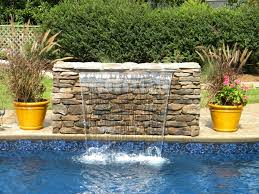 outdoor water features with lights sheer descent waterfall into swimming pool water features best