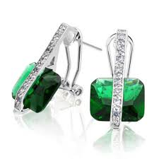 emerald green earrings silver plated deco princess cut color cz omega dangle earrings