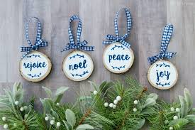 lettered wood slice ornaments