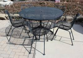Black Iron Patio Chairs Mid Century Modern Sculptura Wrought Iron Patio Set Table And Five