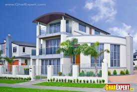 Modern Elevation by 3 Storey Modern Elevation With Double Height Tower Gharexpert