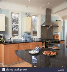 modern kitchen extensions black granite topped table in pale blue modern kitchen extension