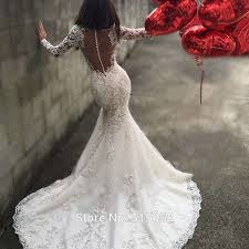 luxury wedding dresses 199 illusion back lace mermaid wedding dress gelinlik