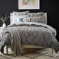 Charcoal Duvet Cover King Organic Cotton Pintuck Duvet Cover Shams Feather Gray West Elm