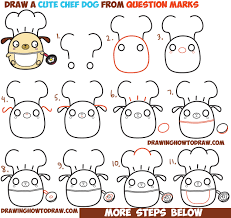 how to draw cute kawaii chibi dog chef cooking from question mark