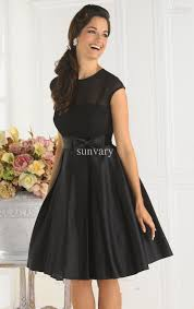 Cheap Cocktail Party Ideas - simple cheap black cocktail dress a line jewel cap sleeves knee