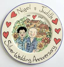 celebration plates weddings anniversary plates kate glanville painted tiles