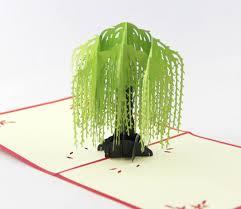 pop up tree willow tree pop up card 3d kirigami card handmade tree