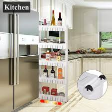 kitchen storage cupboard on wheels bathroom kitchen 5 tiers slim movable shelf storage cabinet wheel organize buy at a low prices on joom e commerce platform