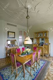 interior view of vintage dining room table of casa mila or la
