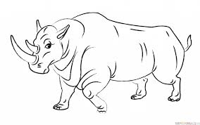 how to draw a cartoon rhino step by step drawing tutorials