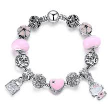 silver pendant bracelet images Hello kitty charms bracelet silver with pink heart jpg