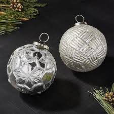 antiqued glass silver glitter ornaments crate and barrel