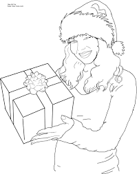 christmas santa 39 s helper with a gift coloring page free