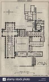 Ground Plan by Jervaulx Abbey Ground Plan Yorkshire 1939 Vintage Map Stock