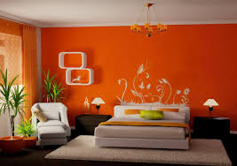beautiful creative wall painting ideas for bedroom with orange