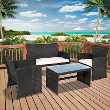 Dark Wicker Patio Furniture by Best Choice Products Outdoor Garden Patio 4pc Cushioned Seat Black