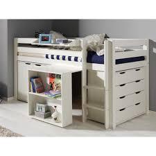 bureau sous lit mezzanine lit combiné pino iii blanc