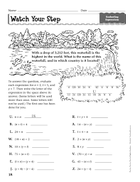 evaluating expressions worksheet evaluating variable expressions