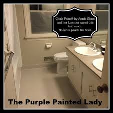 How To Paint A Tile Floor Bathroom - painting tile in the bathroom with chalk paint the purple