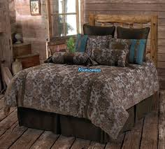 Turquoise And Brown Bedding Sets Western Rustic Country Fleur De Lis Comforter Set Turquoise