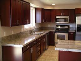 kitchen cabinets ideas pictures cherry kitchen cabinets with gray wall and quartz countertops