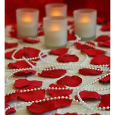 Rose Petals Room Decoration Romantic Room Of Rose Petals Candles And Pearl Beads Findgift Com