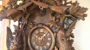 Cuckoo Clock Germany Rare 5 Foot Antique Carved Black Forest 8 Day Fusee Cuckoo Clock C